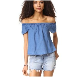Madewell Off Shoulder Chambray Bellamy Blue Top